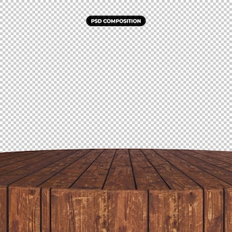 透明に分離された木製のテーブルトップ