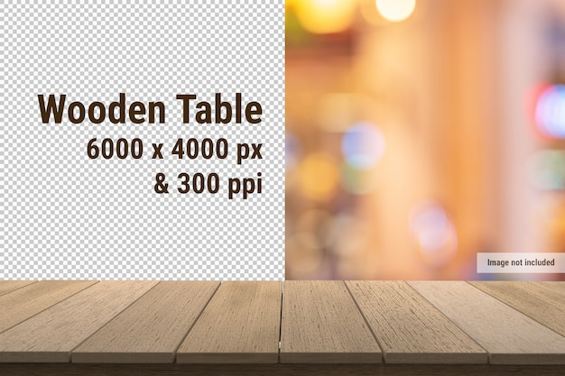 Wood table or wooden panel mockup on transparent background