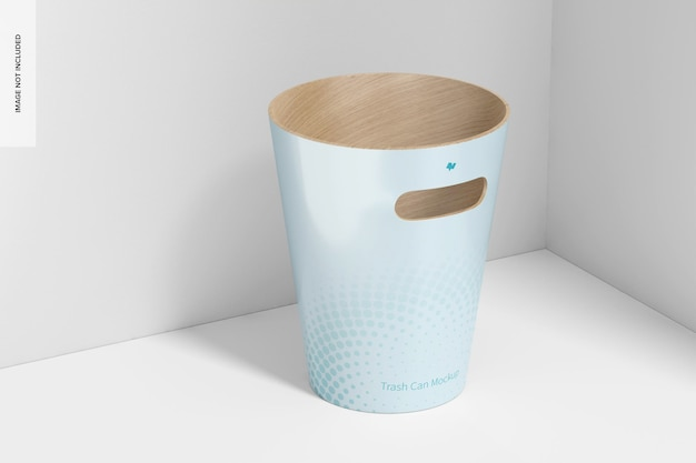 Wood trash can mockup, perspective view