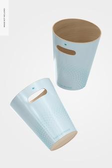 Wood trash cans mockup, floating