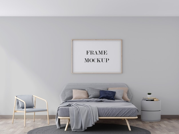 Wood wall frame mockup above grey bed