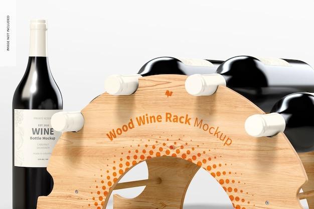 Деревянная стойка для вина, макет, крупный план