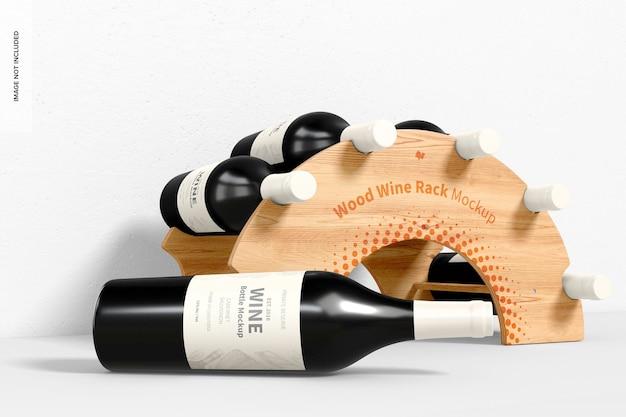 Мокап деревянной винной стойки