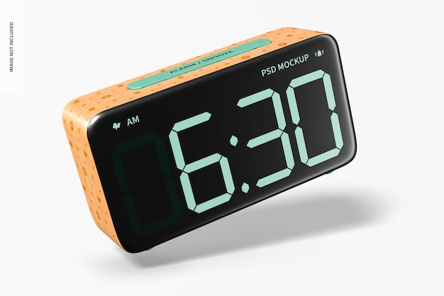 Wooden alarm clock mockup, falling