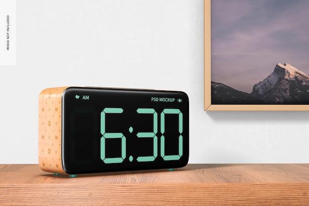 Wooden alarm clock mockup