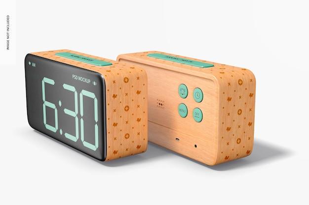 木製の目覚まし時計のモックアップ、正面図と背面図