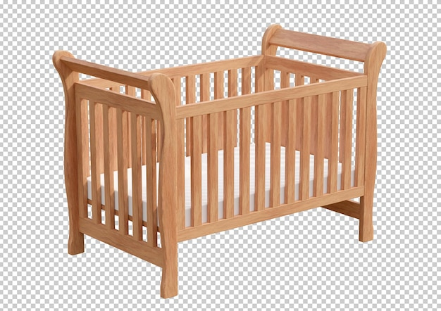 Wooden baby cot isolated in 3d rendering