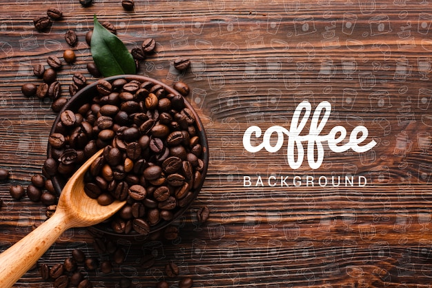 Wooden background with coffee beans