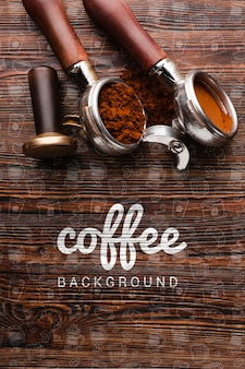 Wooden background with coffee stuff