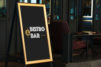 Wooden bar tripod sign