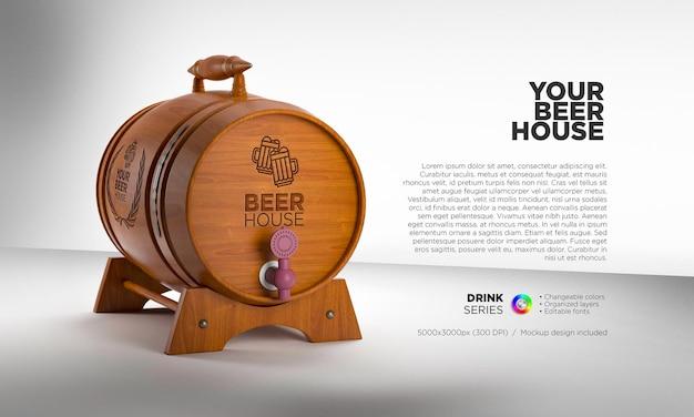 Wooden barrel mockup for brand name and logo