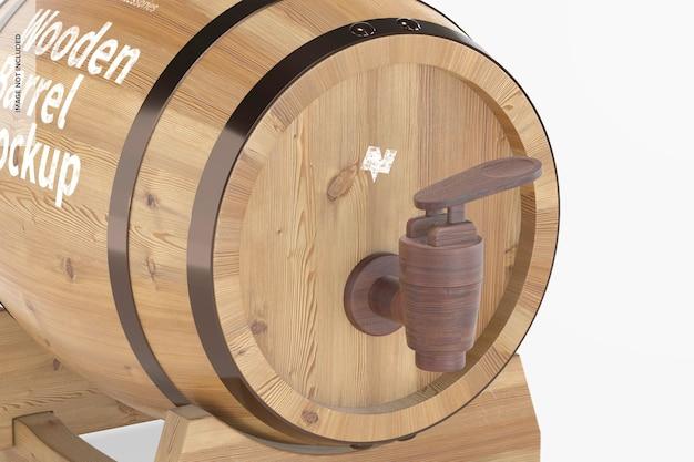 Wooden barrel on stand mockup, close-up