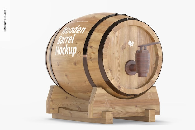 Wooden barrel on stand mockup, left view