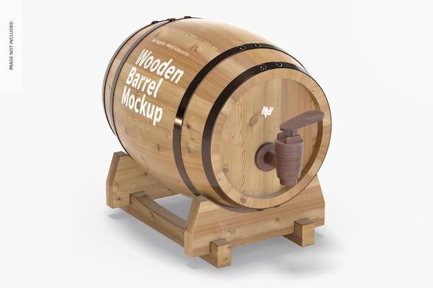 Wooden barrel on stand mockup