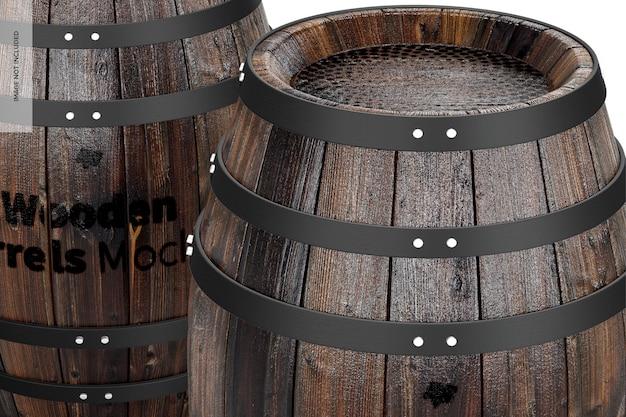 Wooden barrels mockup, close-up