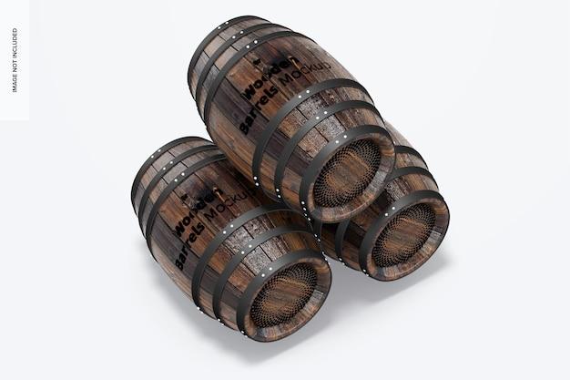 Wooden barrels mockup set