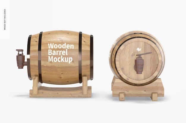 Wooden barrels on stand mockup