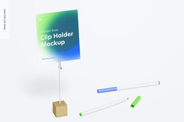 木製ベースフォトクリップホルダーと鉛筆のモックアップ