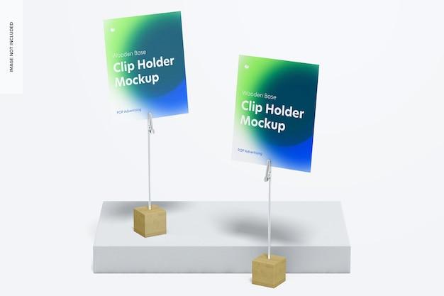 木製ベースフォトクリップホルダーモックアップ、正面図