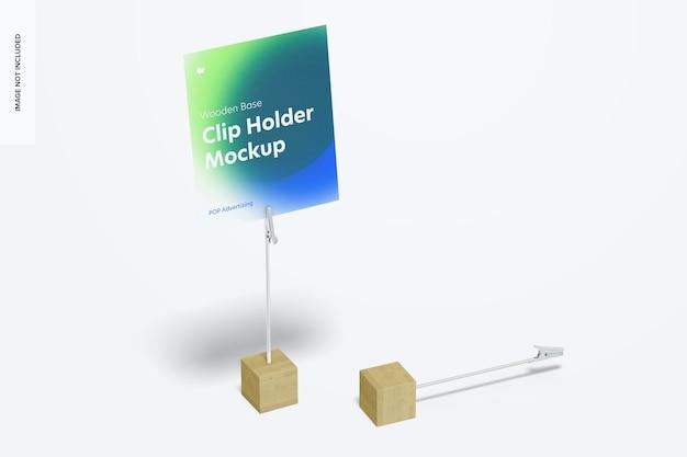 Portafoto con base in legno mockup