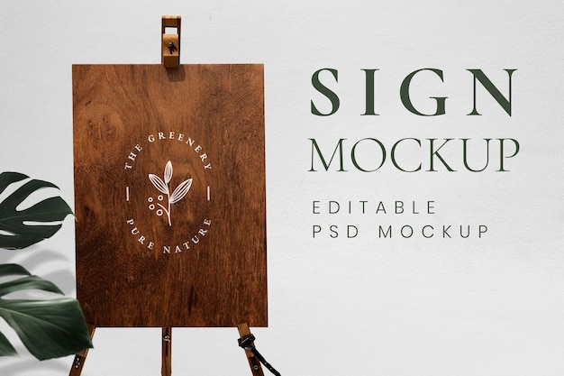 Wooden board easel sign mockup with stand