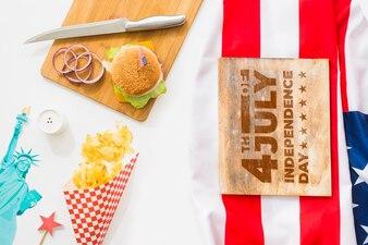 Wooden board mockup with hamburger