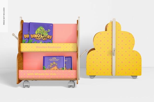 子供用モックアップ、正面図のホイール付き木製本棚