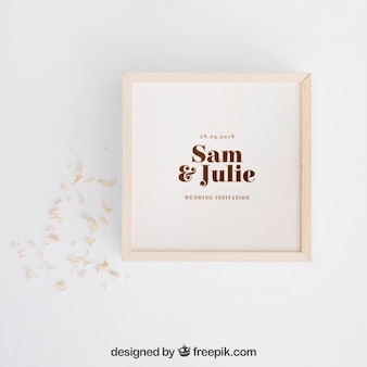 Wooden box mockup for wedding