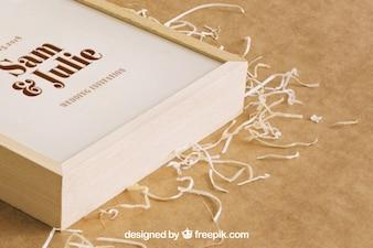 Wooden box mockup for wedding