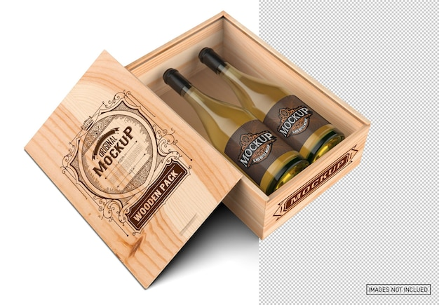Wooden box with white wine bottles