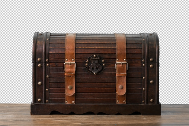 Wooden chest over white background
