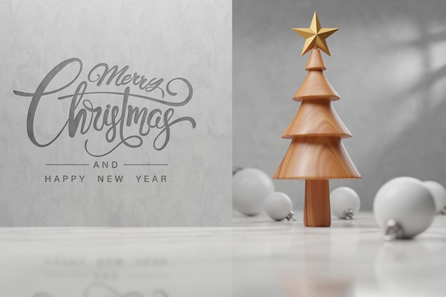 Wooden christmas tree for greeting card, merry christmas and happy new year concept, template and mockup.