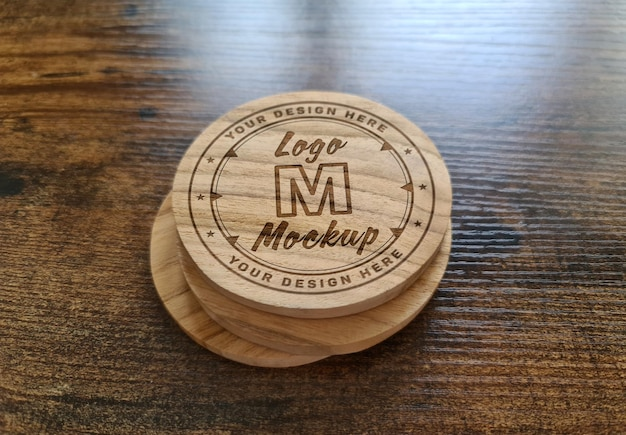 Wooden coaster with engraved logo mockup