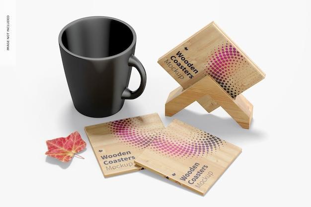 Wooden coasters with mug mockup