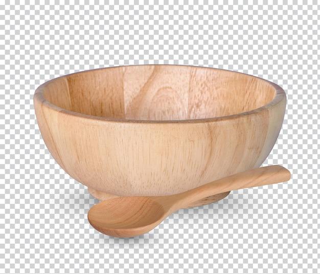 分離された木のカップと木のスプーン