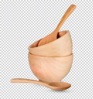 分離された木製のカップと木のスプーン