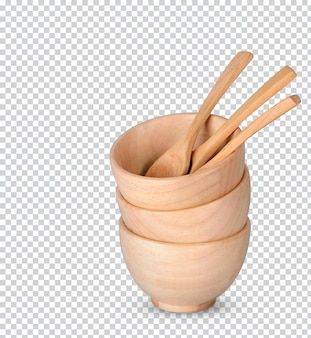 Wooden cup and wooden spoons isolated