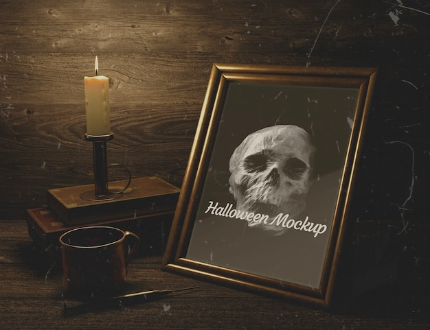 Wooden decor and halloween mock-up frame with skull
