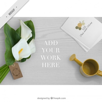 Wooden desktop with cute elements decoration for your work