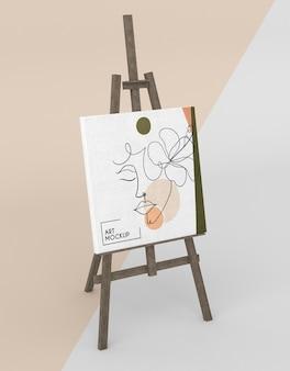 Cavalletto in legno con mock-up in tela
