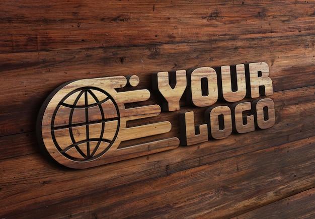 Деревянный эффект с дизайном макета логотипа