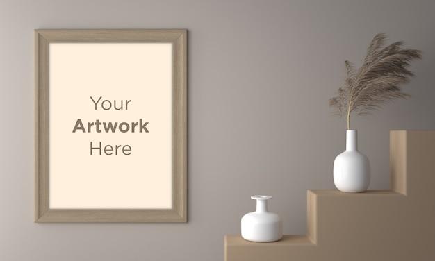 Wooden empty photo frame mockup design with white ceramic vases