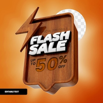 Wooden flash sale text box with discount in 3d rendering