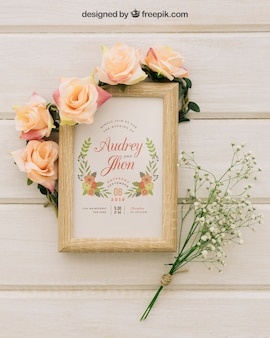 Wooden frame, flowers and bouquet
