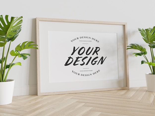 Wooden frame leaning on floor mockup