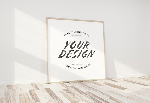 Wooden frame leaning in interior mockup