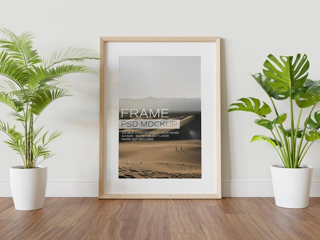 Wooden frame leaning on wall mockup
