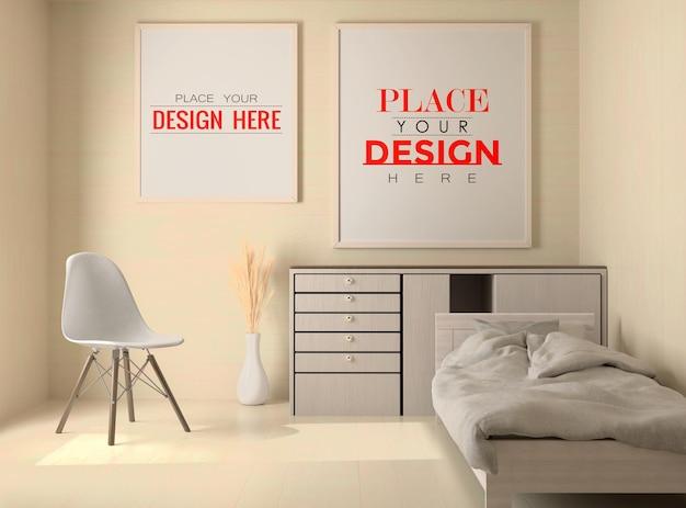 Interni in legno frame mockup in una camera da letto