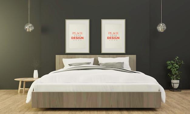 Интерьер деревянного каркаса макета в спальне