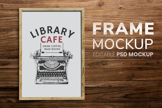 Wooden frame mockup psd on the wooden wall background